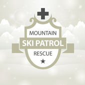 Logotype mountain ski patrol rescue — Stock Vector