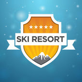 Logotype ski resort five star — Stock Vector