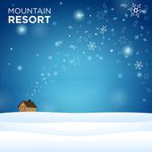Mountain resort alone hous on snow — Stock Vector