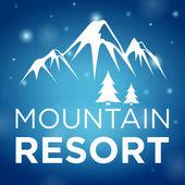 Mountain resort y abeto sobre fondo azul — Vector de stock
