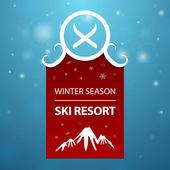 Red logotype winter season ski resort — Stock Vector
