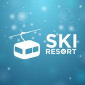 Ski resort ropeway on blue background — Stock Vector