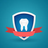 Tooth on the shield protected icon — Stock Vector