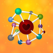 Molecules heart — Stockvector
