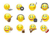 Emoticons depicted with various musical instruments — Vector de stock