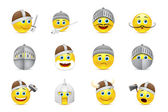 Collection of vector illustrations of knights emoticons — Stock Vector