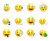 Funny vector smileys set to the medical thematics — Stock Vector