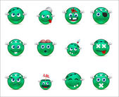 Series of green smilies-style zombies — Stock Vector