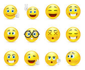 Smiley faces images expressing different emotions — Vector de stock