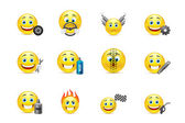 Racing equipment smiles icons set — Stock Vector