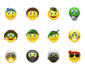 Set of vector images smileys with military elements — 图库矢量图片