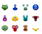 Vector set of funny monsters emoticon — Stock Vector