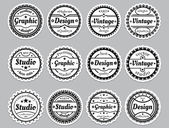 "Set old-fashioned icons ""Premium, design, vector, graphic"" — Stock Vector"