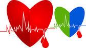 Heart beating logo — Stock Vector