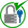 Stock Vector: Key lock