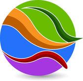 Globe blad logo — Stockvector