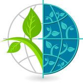 Globe tree logo — Stock Vector