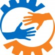 Factory helping hand - Stock Vector