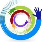 Hand rotation logo — Stock Vector
