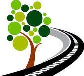 Road tree logo — Stock Vector