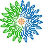 Kwiat logo widelec — Wektor stockowy