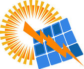 Solar power logo — Vettoriale Stock