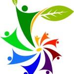 Peoples leaf logo — Stock Vector