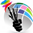 Artist brush hand — Stock Vector