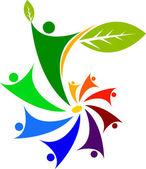 Volkeren blad logo — Stockvector