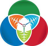 Circle leaf logo — Stock Vector