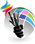 Artist brush hand — Stock Vector