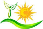Sun leaf logo — Stock Vector