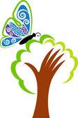 Hand tree logo — Stock Vector