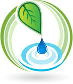 Leaf drop logo — Stock Vector