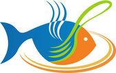 Eat fish logo — Stock Vector
