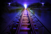 Train track night scenes — Stock Photo