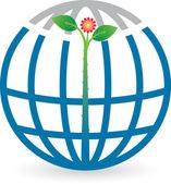 Globe leaf logo — Stock Vector