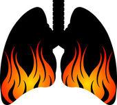 Flame lungs logo — Stock Vector