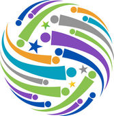 Global peoples logo — Stock Vector