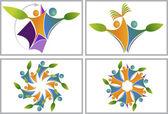 Blatt-bildung-logos — Stockvektor