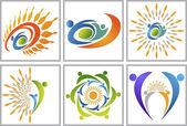Active sun logos — Stock Vector