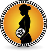 Creation pregnant film roll — Stock Vector