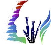 Head art think logo — Vector de stock
