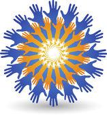Round hands logo — Vector de stock
