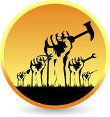 Hands tools logo — Stock Vector