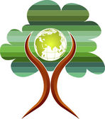 Tree globe man logo — Vector de stock