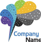 Stars brain logo — Stock Vector