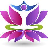 Lotus yoga logo — Stock Vector
