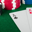 Foto de Stock  : Chip and cards for poker.