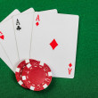 Chips and cards for poker. — Stok Fotoğraf #16775901
